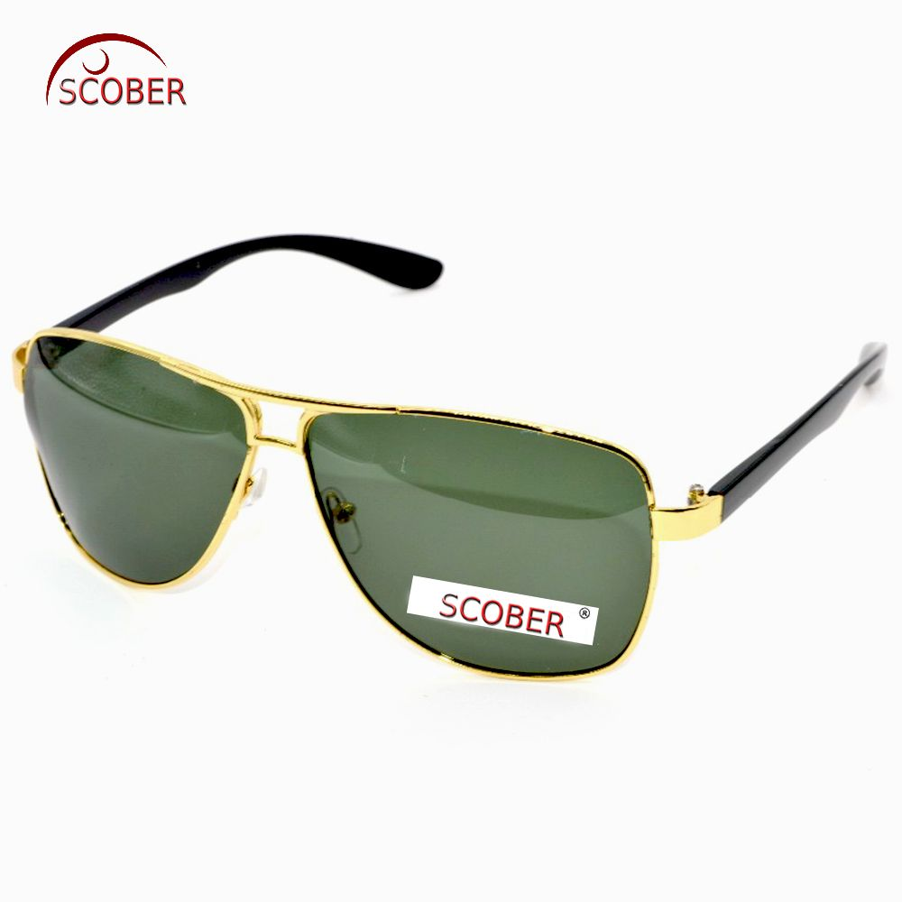 88b0656030 SCOBER   Tr90 Memory Leg Polarized Men Sunglasses Double Bridge Gold Frame Polaroid  Polarised Can Custom Myopia Polarized Lens Riding glasses