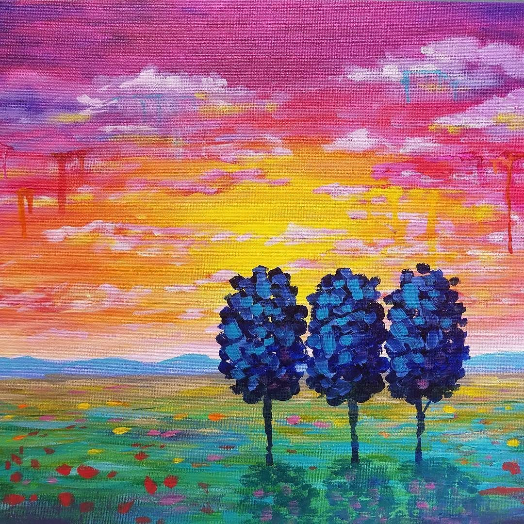 Easy sunset landscape drip trees live beginner acrylic for Easy to paint paintings