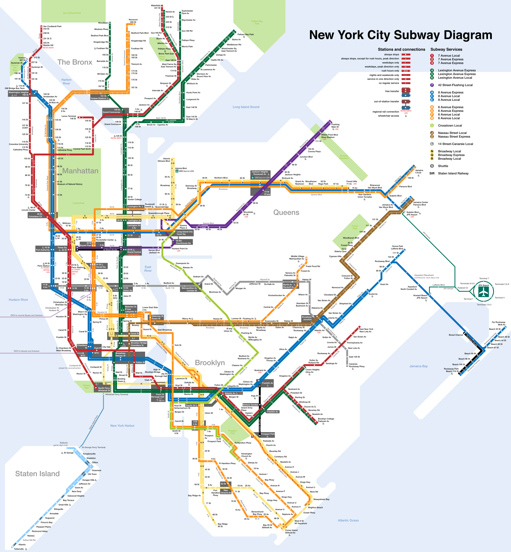 Printable New York City Map New York City Subway Map Page Below - Nyc subway map queens ny
