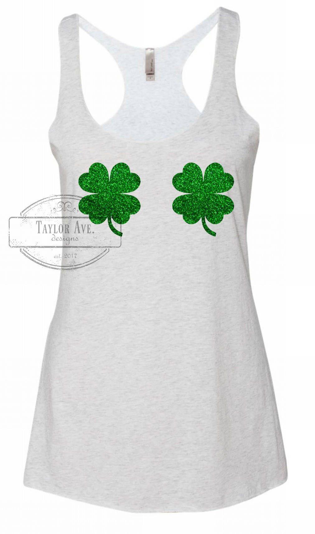 01c89bea3 Glitter Shamrocks Tank. Funny St. Patrick's Tank Top. Workout Shirt. St.  Patty's Day. Womens Shirts. T-shirts. Shamrocks. Clovers. by  TaylorAveDesigns on ...
