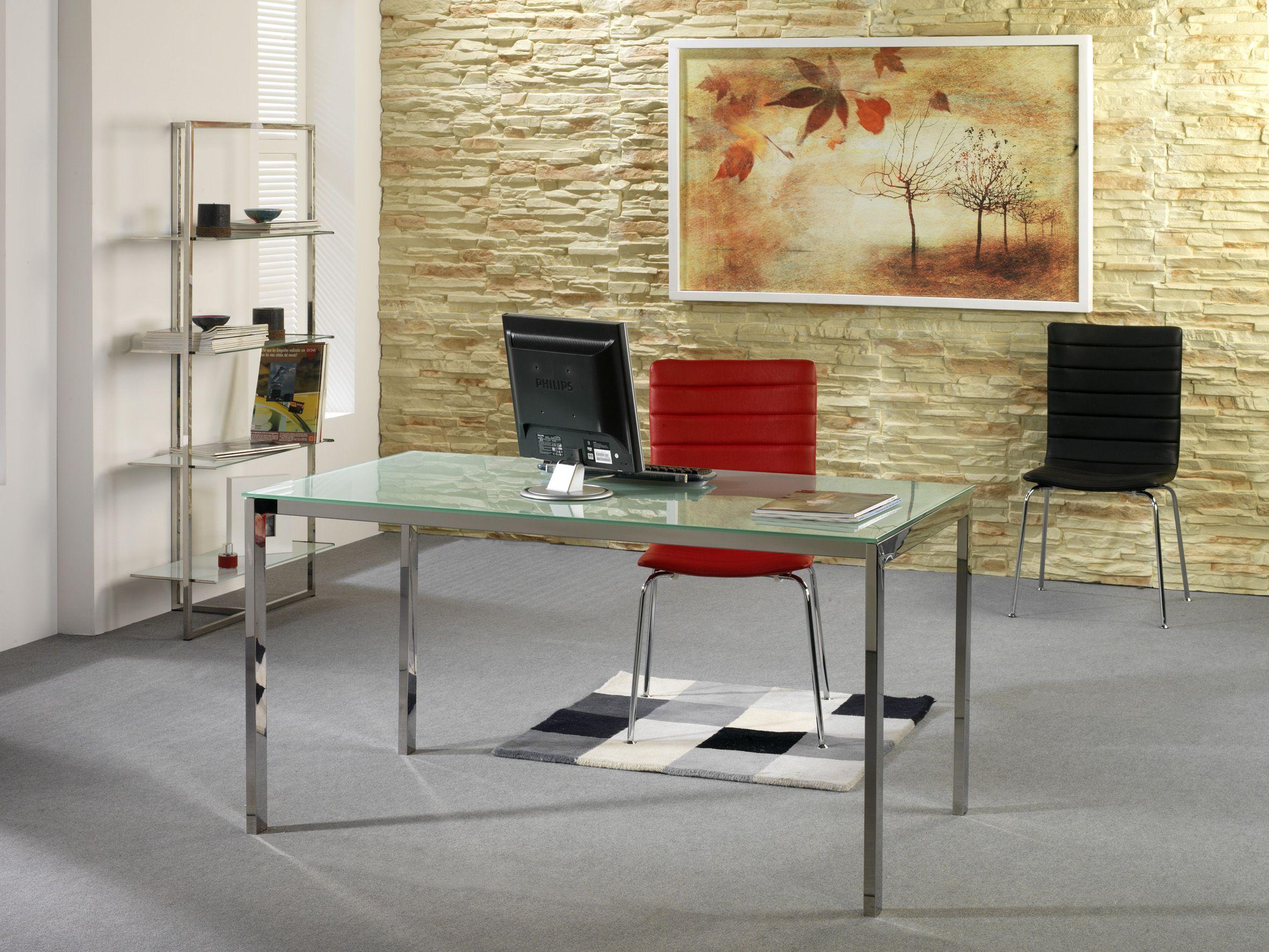 Mesa en acero inoxidable ideal para despacho o para salón mod ...