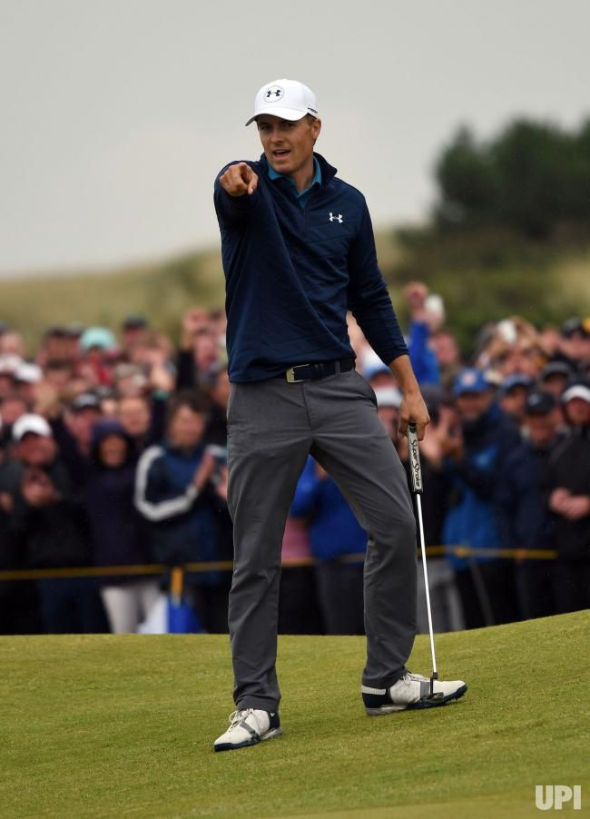 262a975f207413 American Jordan Spieth celebrates an eagle on the 15th hole at the 146th  Open Championship at Royal Birkdale Golf Club