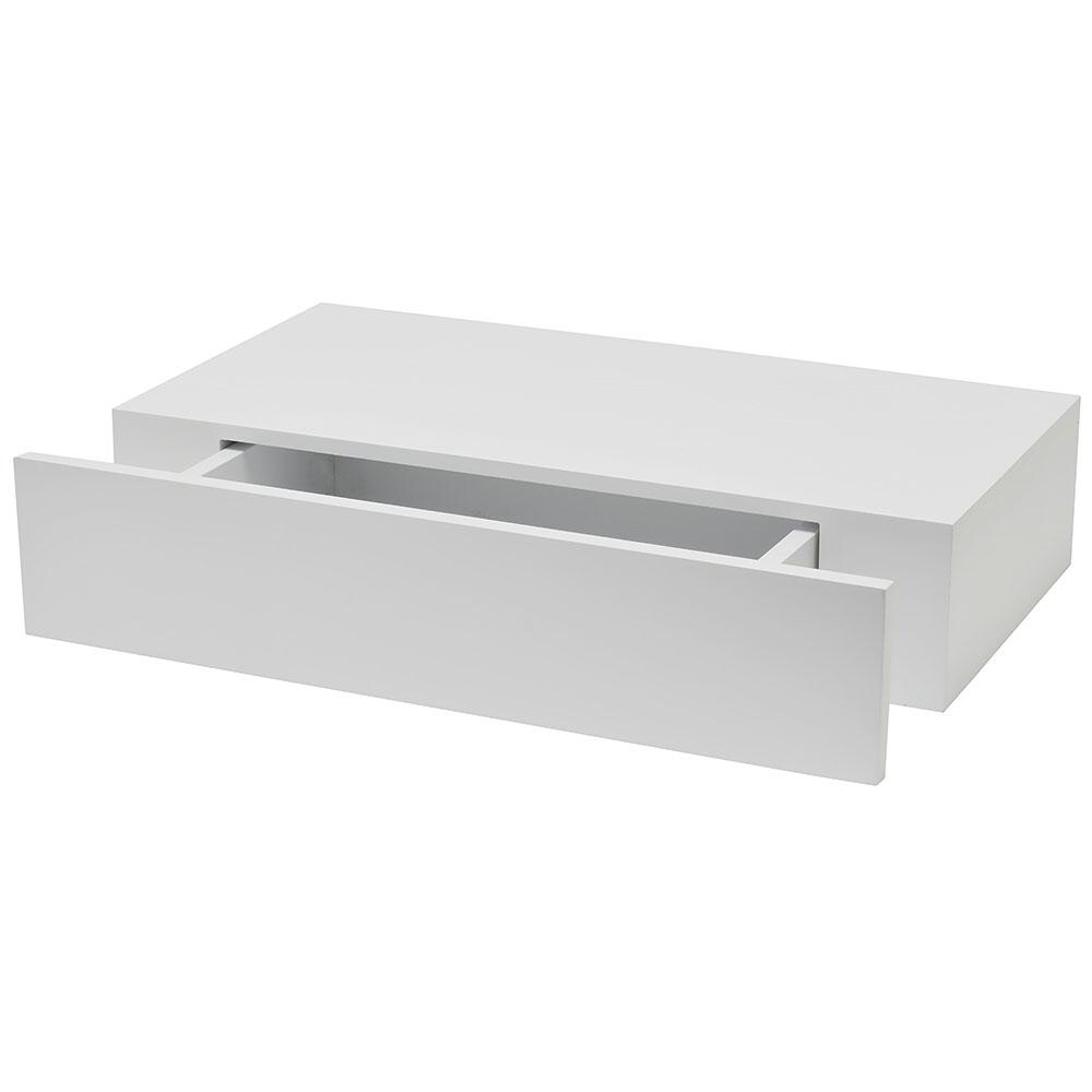 Wallscapes Shelf With Drawer 19 In X 9 875 In Floating White Modern Decorative Shelf 1113283 The Ho In 2020 Drawer Shelves Wall Shelf With Drawer Floating Drawer