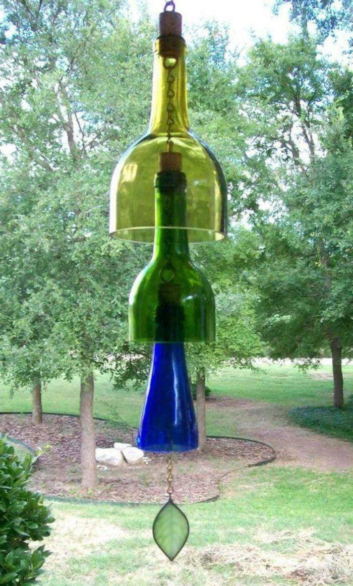 deko ideen selbermachen garten alte flaschen windspiel basteln, Garten und bauen
