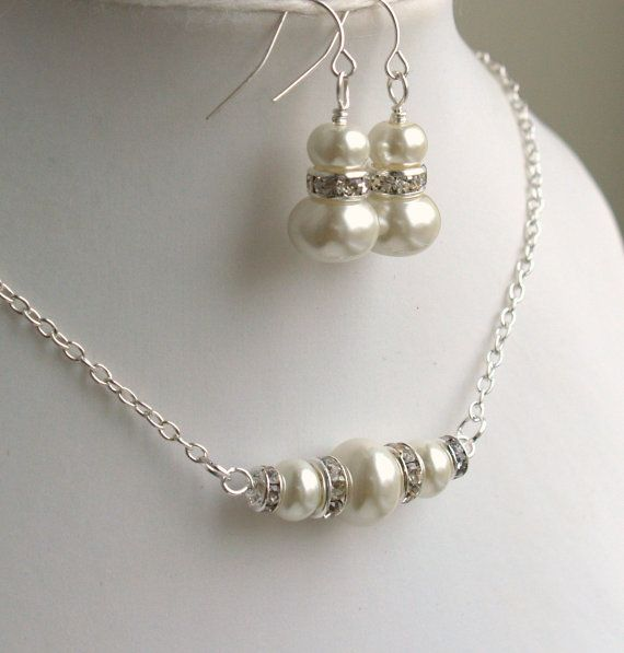 What Is An Appropriate Wedding Gift Amount: Ivory Necklace And Earrings Set Bridesmaid Gift By