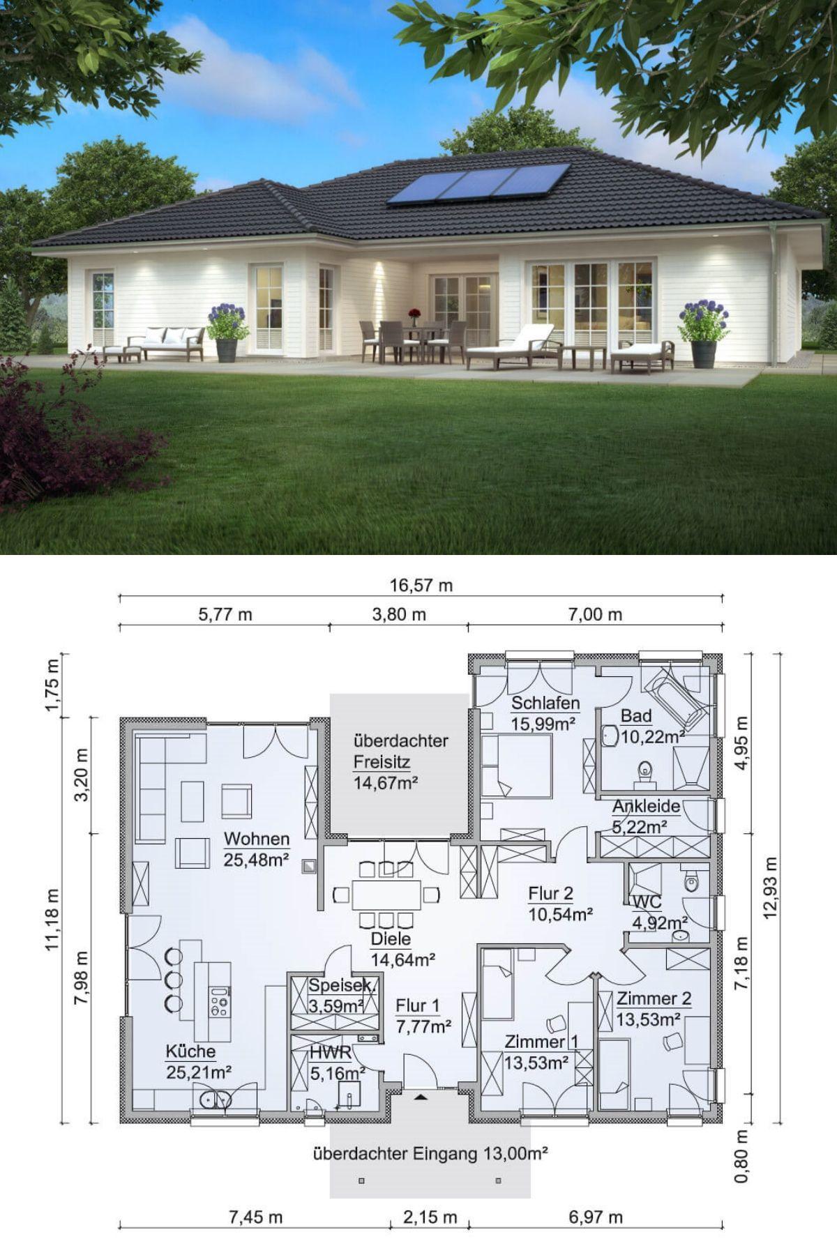 Bungalow haus im landhaus stil mit walmdach architektur for Haus bauen plan