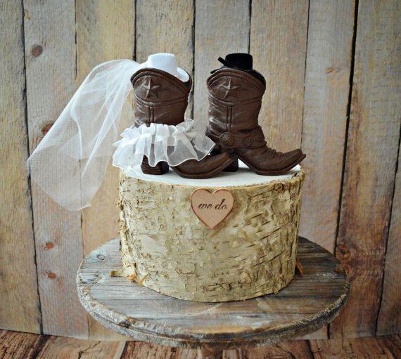 Cowboy Boots Wedding Cake Topper Texas Country Rustic Western