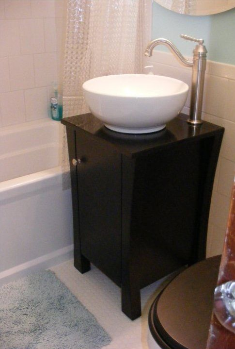 Vessel Sink And Vanity Cabinet Only 18 Inches Wide Its A Tiny