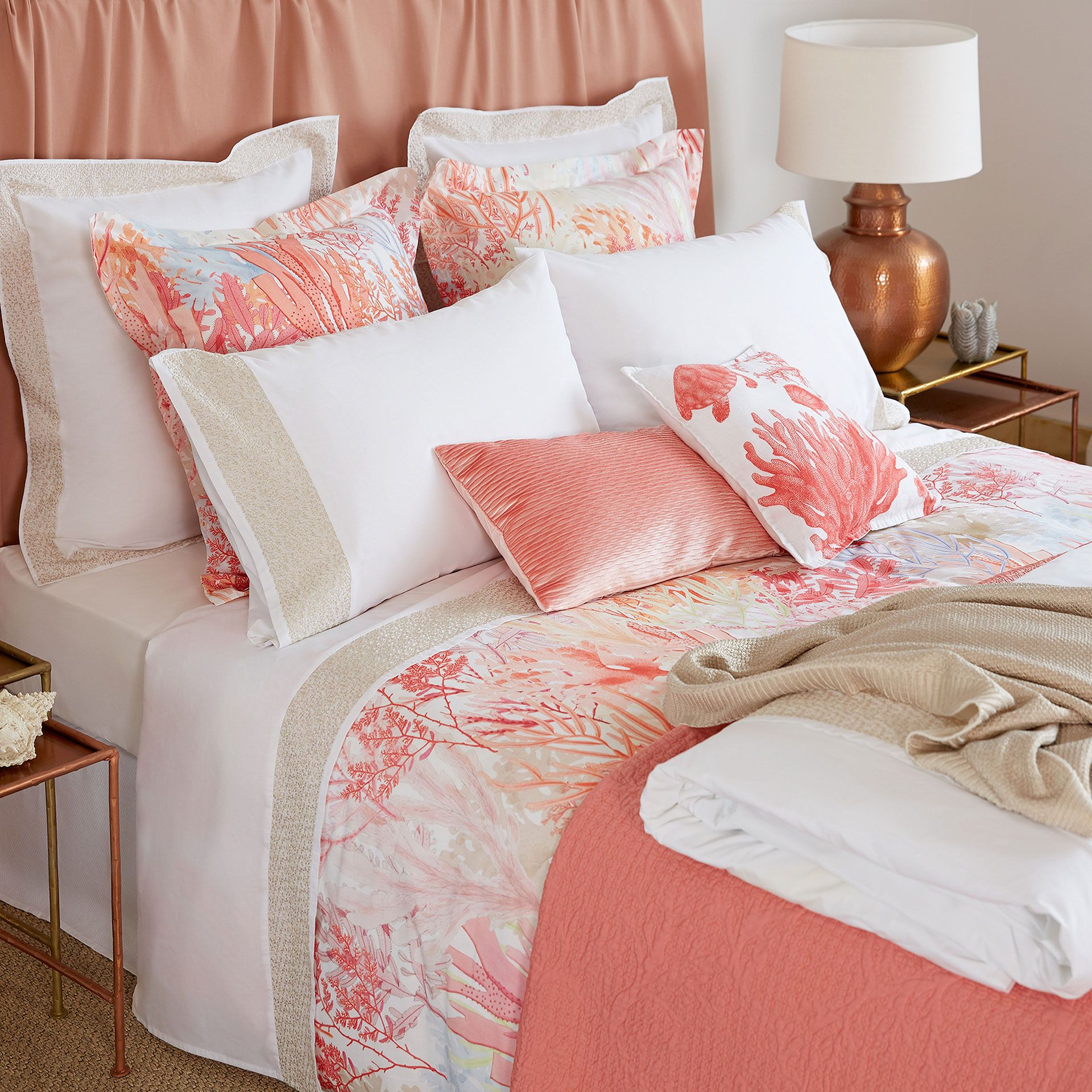 Bettwäsche Satin Zara Home Image 2 Of The Product Multicoloured Coral Digital Print Bed Linen