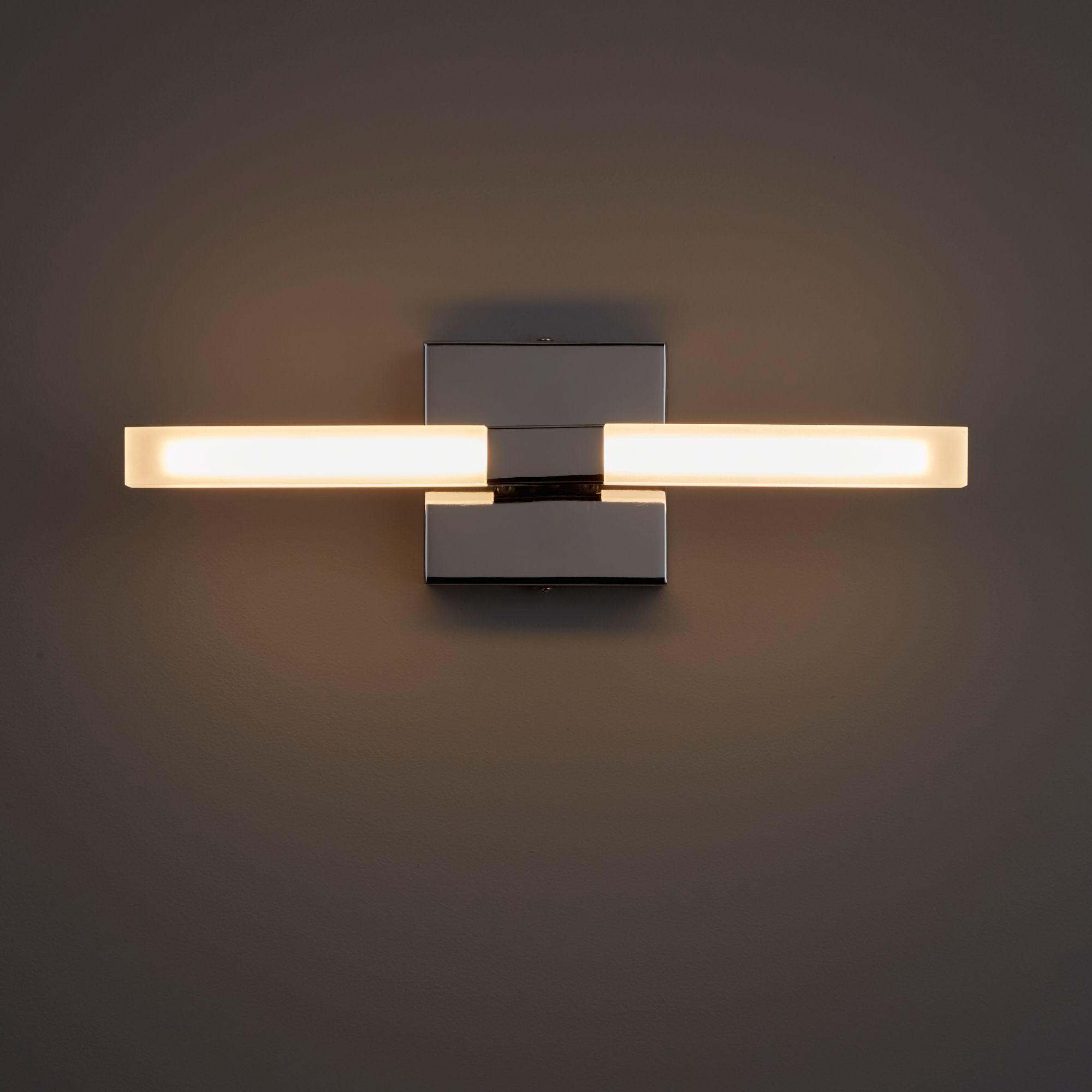 Paroo Clear Chrome Effect LED Double Bathroom Wall Light | Bathroom ...