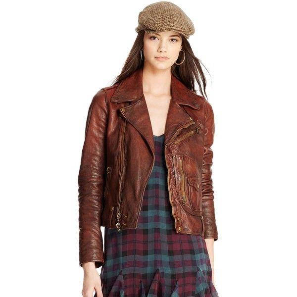 dde07a5b6d290 Polo Ralph Lauren Distressed Leather Moto Jacket ( 1