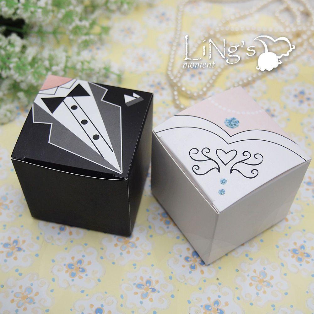 Bride & Groom Dress Tuxedo Decoration Favor Gift Candy Box Wedding ...