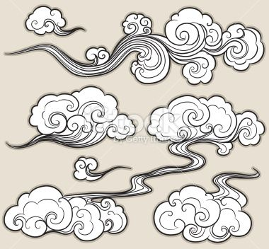 a set of cloud graphics in oriental style. | art illustrations