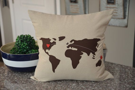 Brown World Map Pillow Cover 18 x 18 Pillow by HomeSweetMichigan