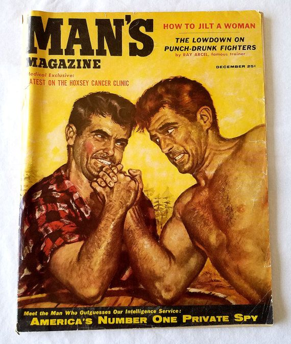 RARE December 1955 Volume 3 #8 Man's Magazine - Very Good/Fine Condition.  Cover Art Painting By John