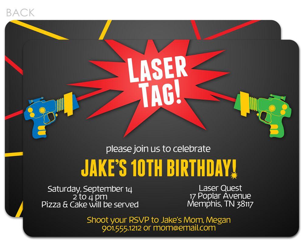 Laser Tag Birthday Invitations  Laser tag birthday party, Laser