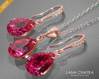 Fuchsia Rose Gold Jewelry Set Hot Pink EarringsNecklace Bridal Set
