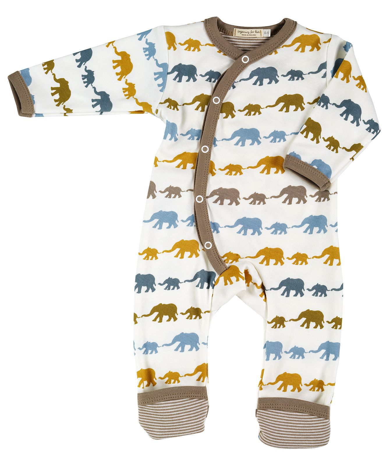 Organic Cotton Long Elephant Romper Suit Organics for Kids Newborn