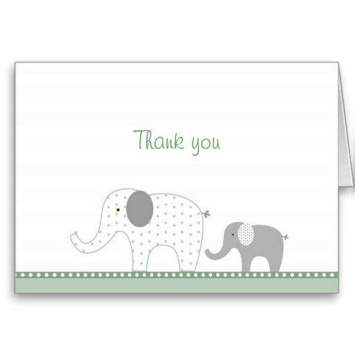 Neutral Elephant Dot Thank You Note Cards! Make your own foldedcards more personal to celebrate the arrival of a new baby. Just add your photos and words to this great design.