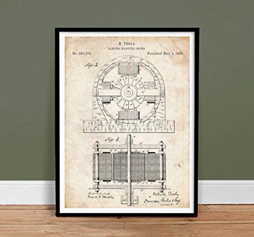 TESLA POSTER Electric Motor 1888 Patent Poster Print 18x24 Inventor Genius Elon Musk Model S Car Reproduction Steves Poster Store http://www.amazon.com/dp/B00IA3NSMG/ref=cm_sw_r_pi_dp_gw5uub1NZXA35