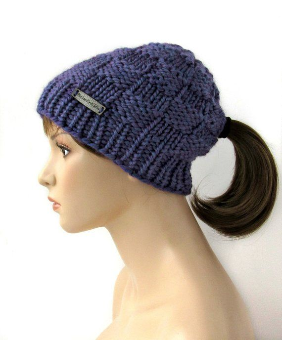 Violet Purple Ponytail Hat with Low Ponytail Hole 579794fa20c