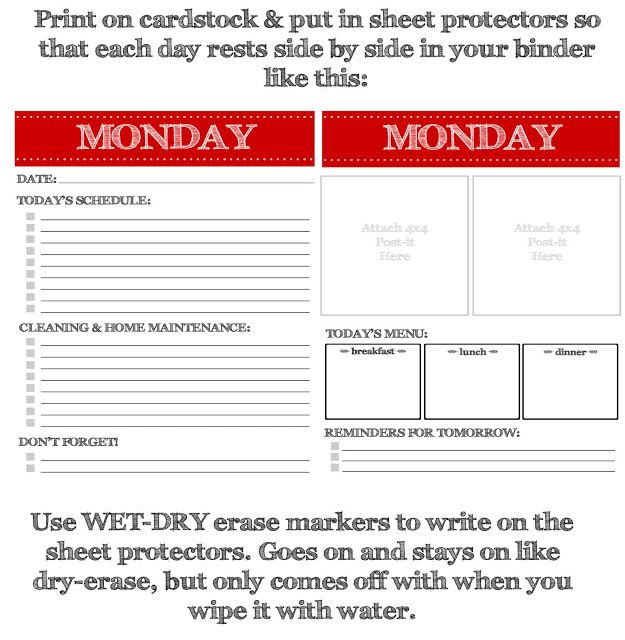 family planner love these day by day sheets Could really be