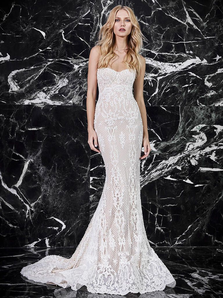 0243e69c83d Victoria KyriaKides Spring 2018 strapless fit and flare wedding dress with  bustier bodice and all-over crosshatch lace embroidery.