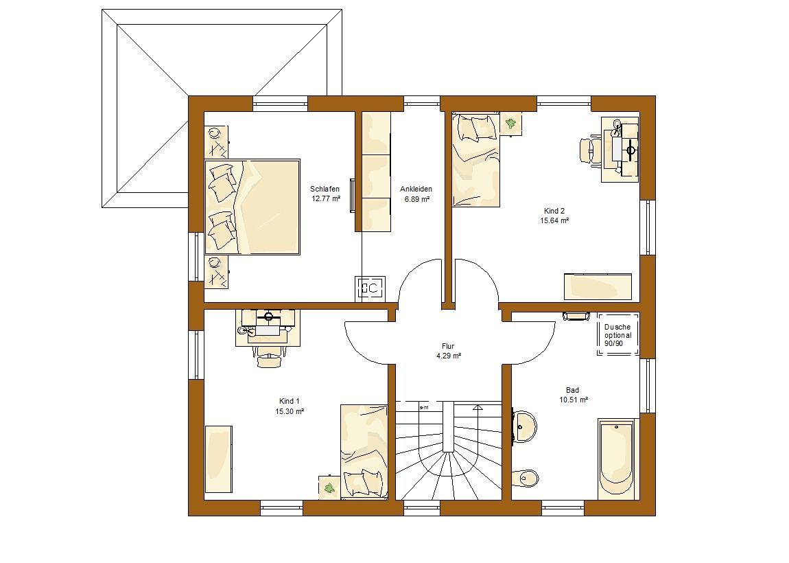 CLOU 135 Satteldach Grundriss Obergeschoss | Hauspläne | Pinterest ...
