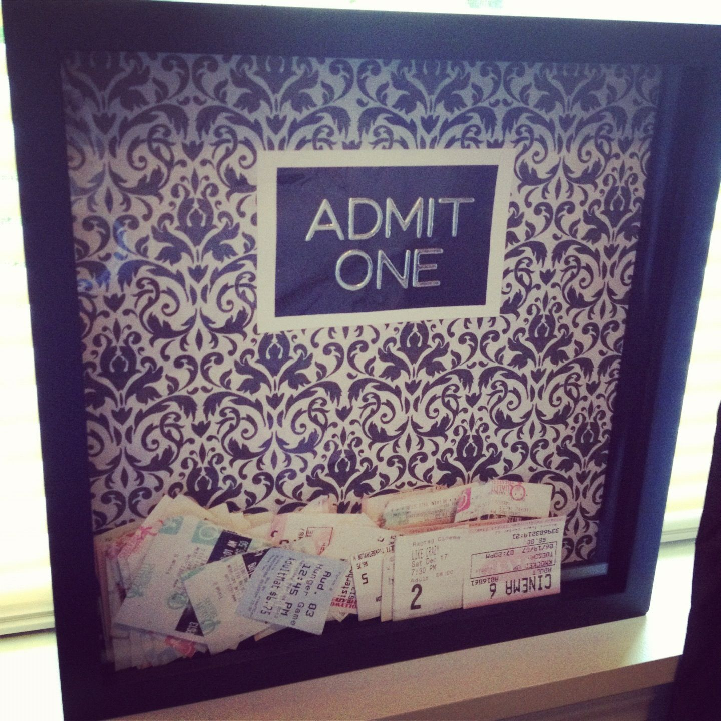 How to make scrapbook easy - Shadow Box 12x12 Scrapbook Paper Lettering Ticket Stub Holder Easy To Make