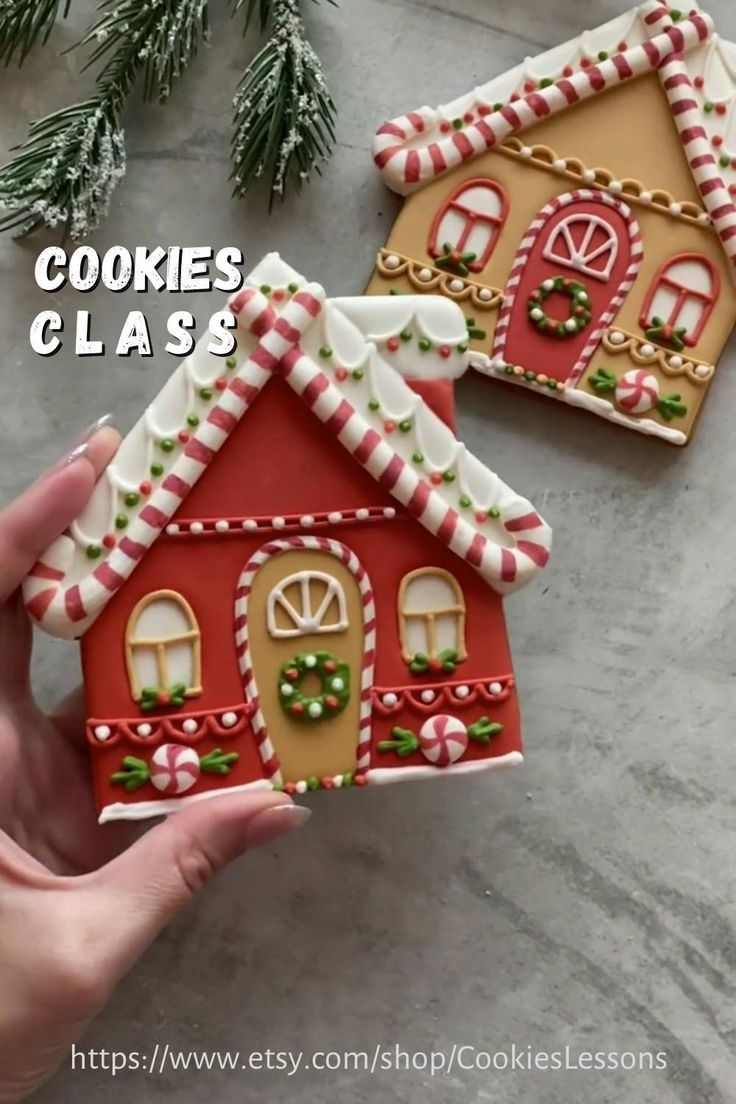 Cookie Class Christmas Houses Etsy Christmas Cookies Decorated Gingerbread House Cookies Christmas Gingerbread