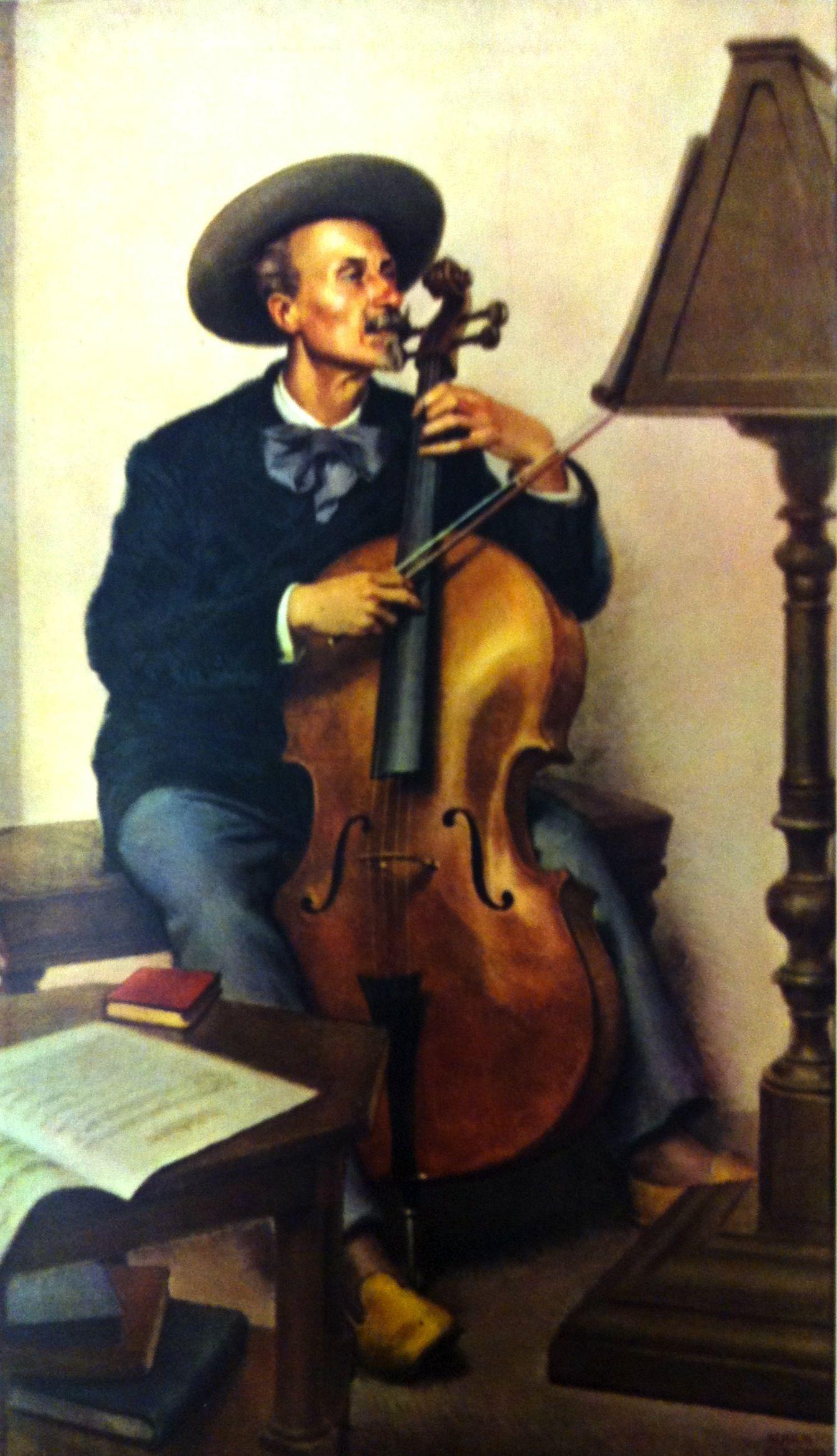 Il professore di violoncello Giuseppe Magrini. (olio su tela di Augusto Colombo, 1931).