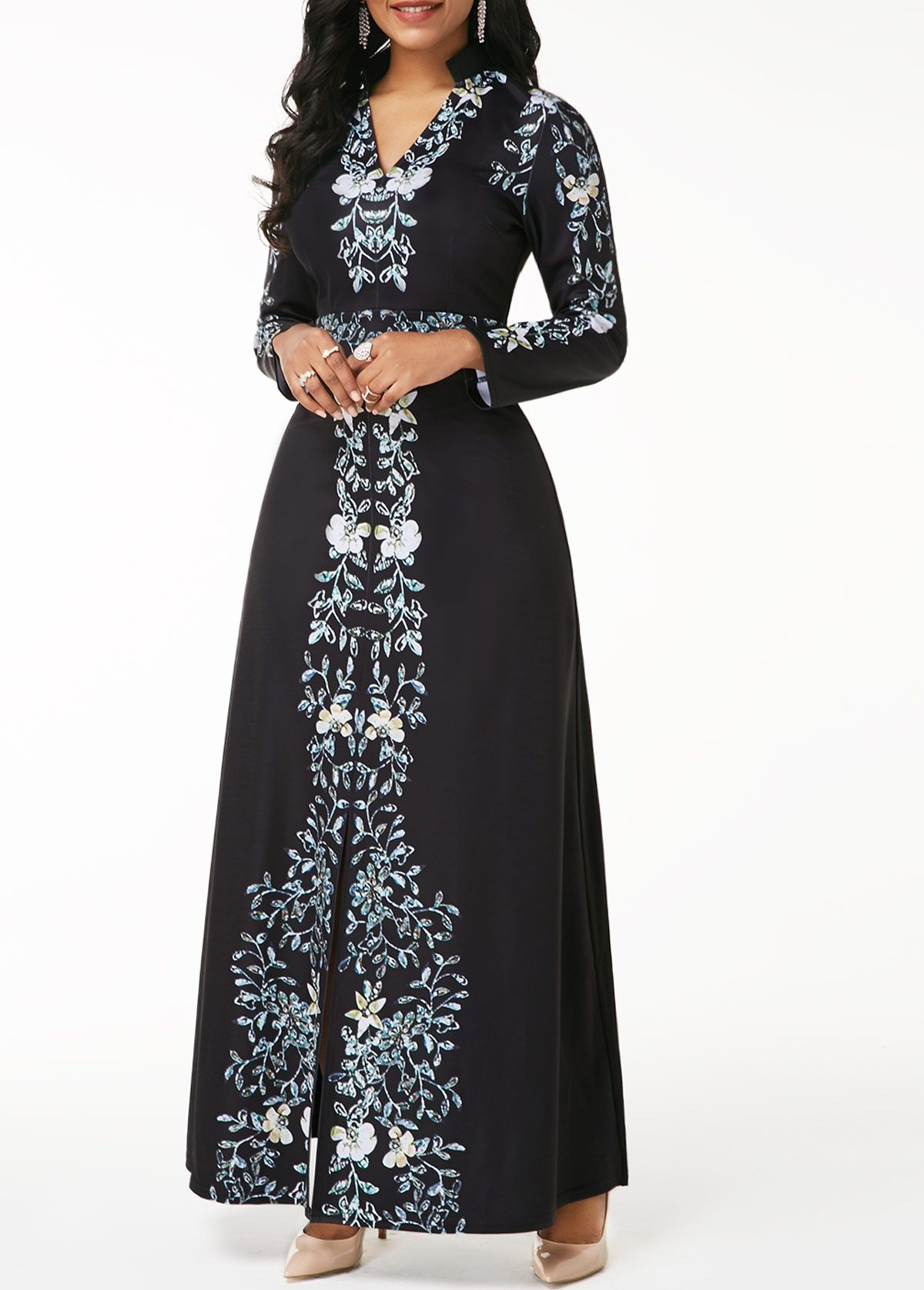 V neck flower print long sleeve black dress in dresses