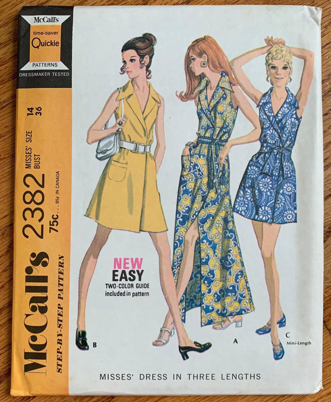 Vintage 1970s Sewing Pattern B36 Womens Wrap Dress In Etsy In 2020 Womens Wrap Dress 1970s Sewing Patterns Mccalls Patterns