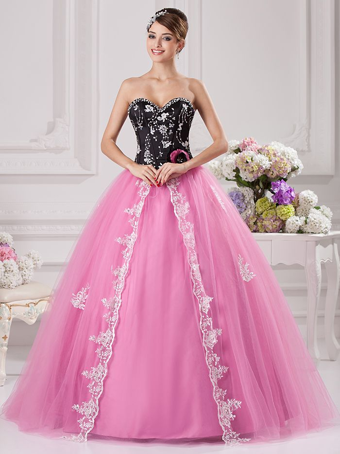 Click to Buy << Black Pink Ball Gown Prom Gowns Sweetheart White ...