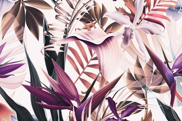 Tropical Flowers And Leaves Vintage By Mystel On Creativemarket Computer Wallpaper Desktop Wallpapers Macbook Wallpaper Tropical Wallpaper