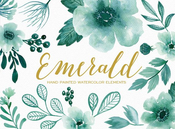 Watercolor Floral Clipart Hand Painted Emerald Flowers Floral Watercolor Watercolor Hand Painted