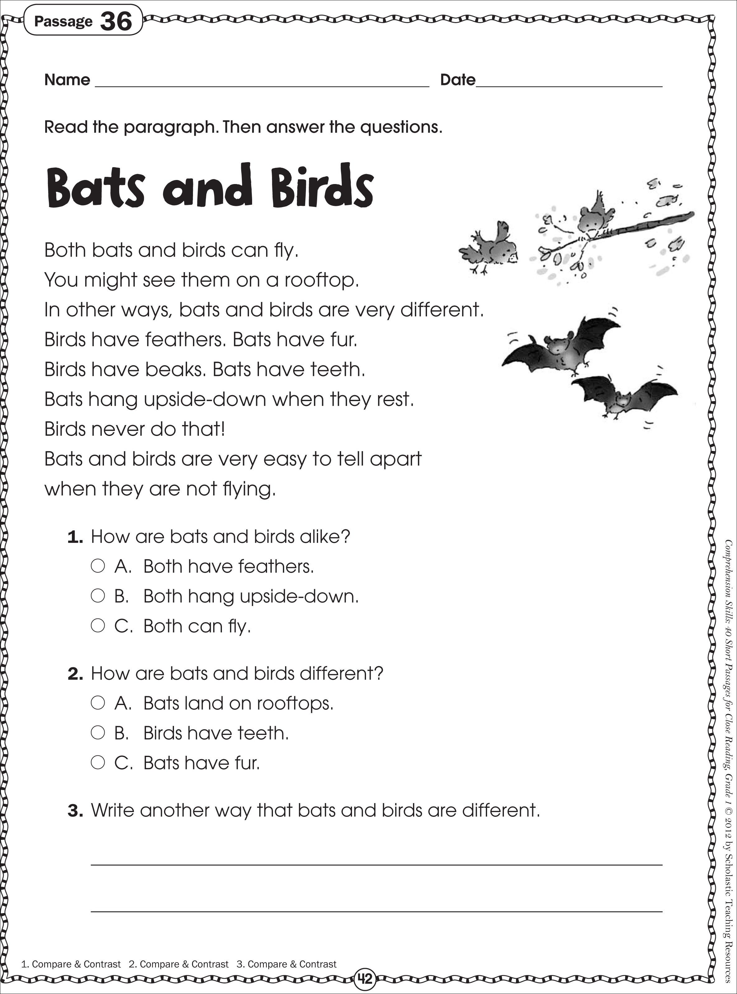 Free Printable Reading Comprehension Worksheets for Kindergarten ...
