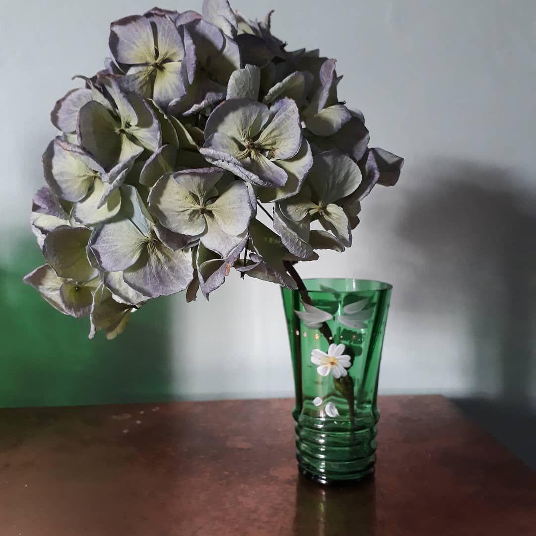 "@londonblackdesign on Instagram: ""Little antique vase,  green glass with painted flowers #flowers #vintagevase #vintageglass #homedetails #myconsideredhome #christmas…"""