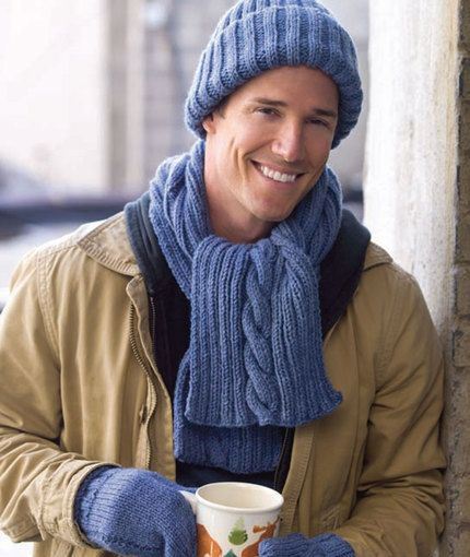 free pattern - Hat, Scarf & Mitt Set - easy - #4 yarn - Knitting Needles: 5.5mm [US 9] and 4.5mm [US 7]