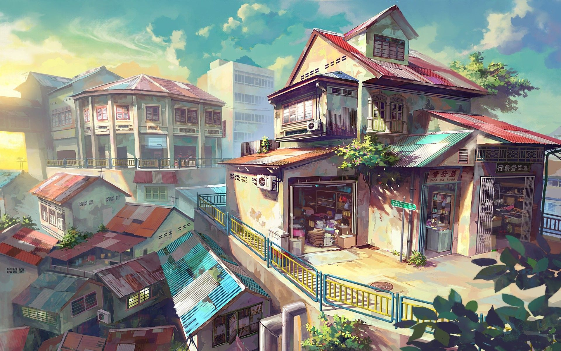 hd | anime scenery | town | village | modern | concept art