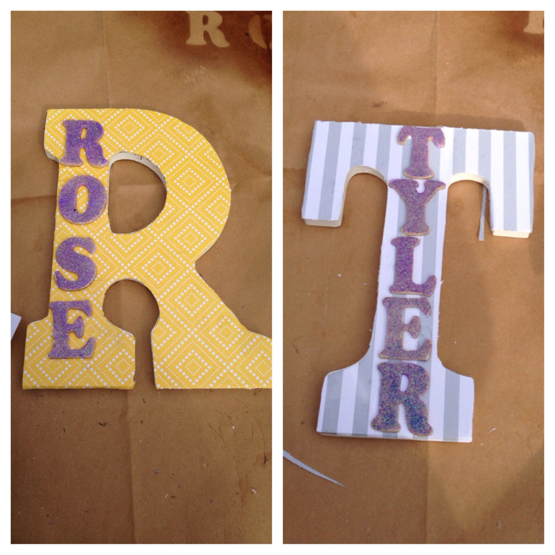How to glue scrapbook paper to wood letters - Made These For The Baby S Wall Used Wood Letters White From Michael S