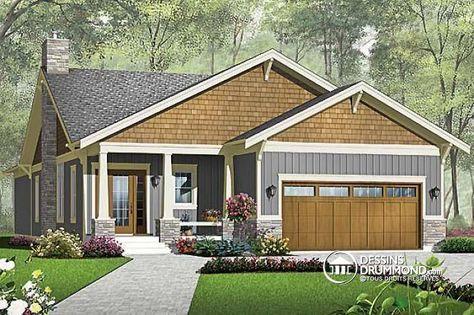 W3241-V1 - Plan de Maison américaine, garage double, 3 chambres
