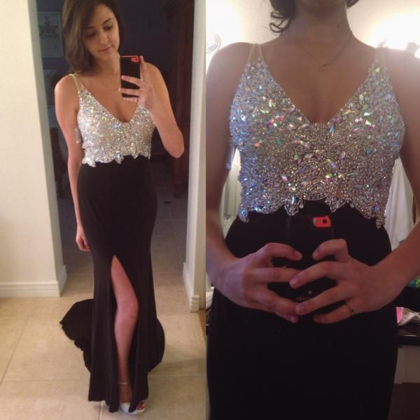 Charming Prom Dress,Long Prom Dresses,Crystal and Beaded Split