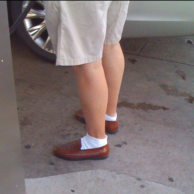 White socks with shorts and dress shoes