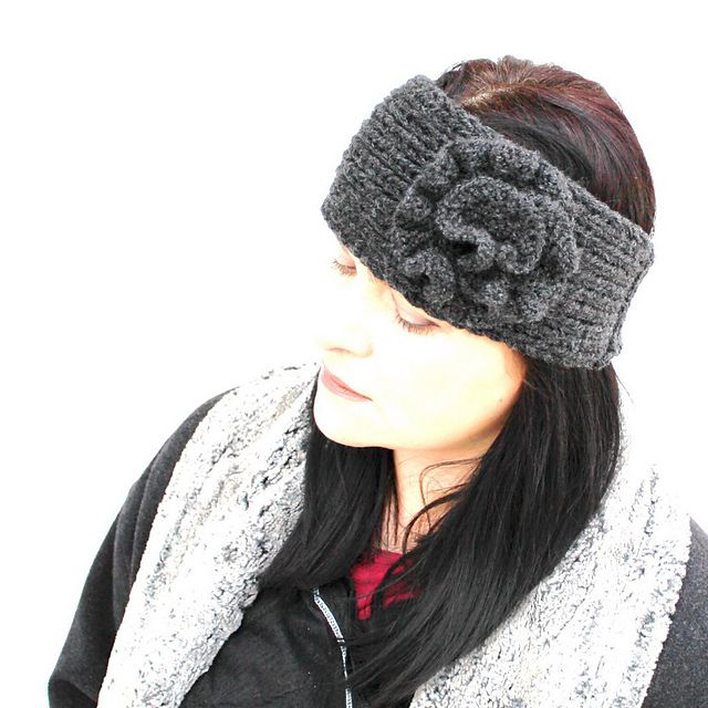 Knitted Headband With Flower Pattern By Angela Juergens Knitted