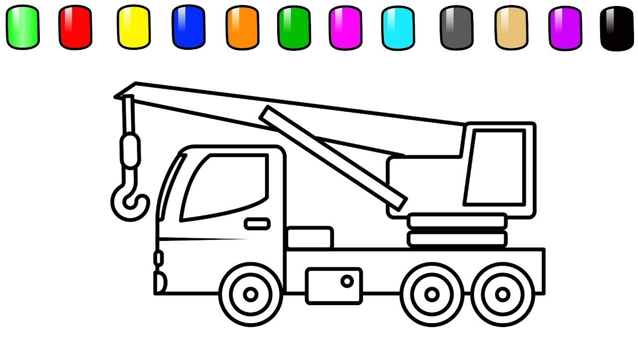 Learn Color For Kids With Construction Truck Coloring Pages Crane
