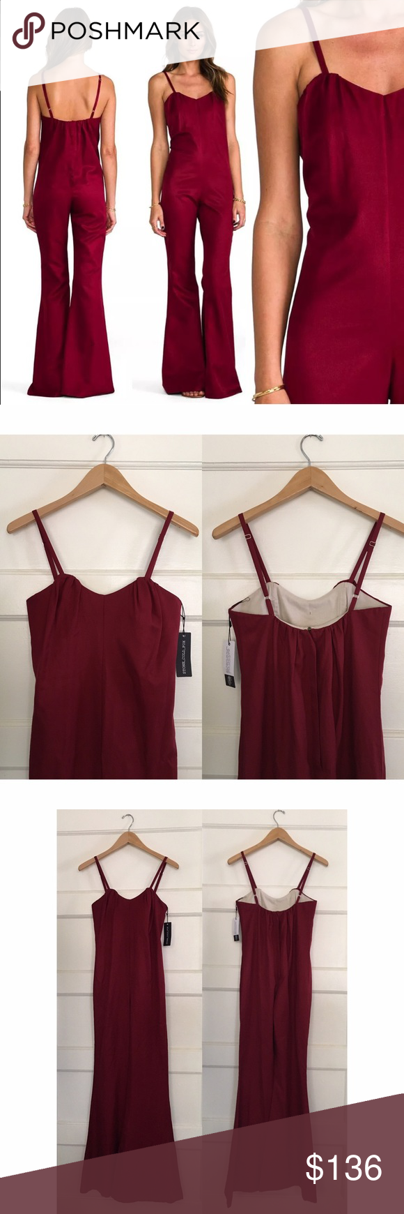 "Stone Cold Fox Jerry Jumper Stone Cold Fox Jerry Jumpsuit in Burgundy Gathered sweetheart neckline Adjustable straps Boned inner bra/bodice with zip  Size: 1 Measurements (taken flat & unstretched) Bust: 14.5"" Waist: 15.5"" Hip: 18"" Overall Length (minus strap): 54"" Inseam: 33.5""  Excellent NWT condition. Stone Cold Fox Pants Jumpsuits & Rompers"