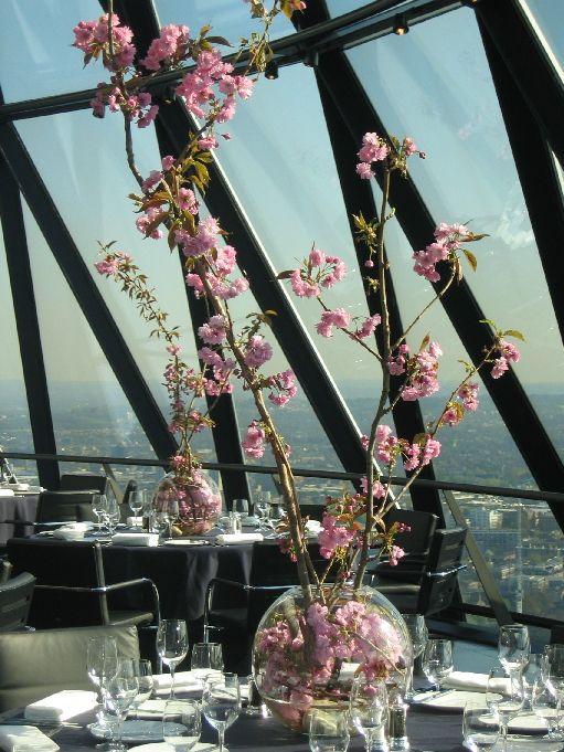 Branches Of Cherry Blossom Flower Arrangement Large Spaces Flower Arrangements Hotel Flowers Cherry Blossom Flowers
