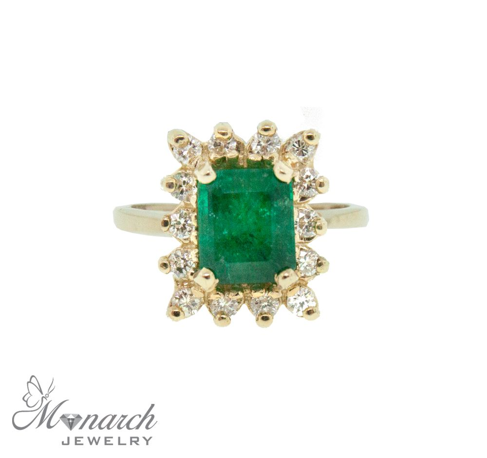 Monarch Jewelry S Emerald And Halo Diamond Ring Emerald Approx 1 2 Ct With Diamonds 0 38cttw Set In 14ky Item Rg21 Monarch Jewelry Amazing Jewelry Jewelry