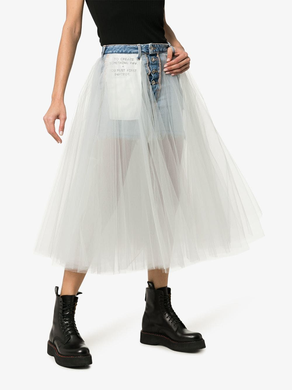 b92341ce94 Unravel Project Reverse cotton denim mini-skirt with tutu